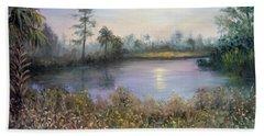 Marsh Wetland Moon Landscape Painting Beach Towel