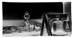 Beach Towel featuring the photograph Marshall Point Bell And Light by Daniel Hebard