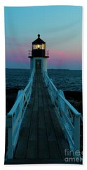 Marshall Point Lighthouse At Sunset Beach Towel by Diane Diederich