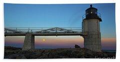 Marshall Point Lighthouse With Full Moon Beach Towel