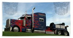 Beach Sheet featuring the photograph Transformers Optimus Prime Tow Truck by Tim McCullough