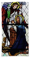 Mary And The Angel Gabriel Beach Towel by Debby Pueschel