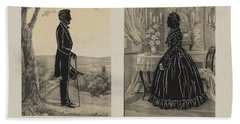 Mary Todd And Abraham Lincoln Silhouettes Beach Towel