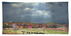 Maryland Farm With Autumn Colors And Approaching Storm Beach Towel