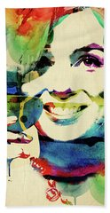 Marilyn And Her Drink Beach Sheet by Mihaela Pater