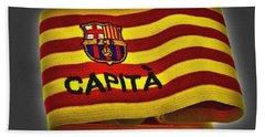 Beach Towel featuring the photograph Mas Que Un Capitan - Carles Puyol by Juergen Weiss