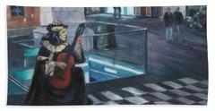 Masked Musician Beach Towel by Connie Schaertl
