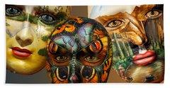 Masks On The Wall Beach Sheet