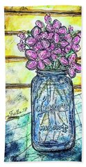 Beach Towel featuring the painting Mason Jar Bouquet by Monique Faella