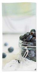 Mason Jar Full Of Blueberries Beach Sheet