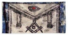 Masonic Apron And Symbols By Raphael Terra And Mary Bassett Beach Towel