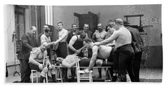 Massage Between Wrestlers Training 1904 Beach Sheet