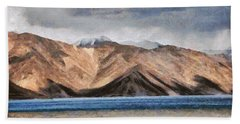Massive Mountains And A Beautiful Lake Beach Towel