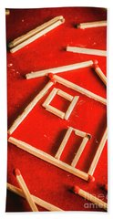 Matchstick Houses Beach Towel