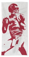 Matt Ryan Atlanta Falcons Pixel Art 2 Beach Towel by Joe Hamilton