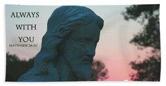 Matthew 28/20 - Jesus Statue Beach Sheet