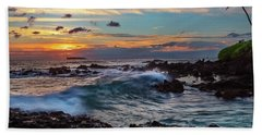 Maui Sunset At Secret Beach Beach Towel