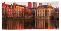 Beach Towel featuring the photograph Mauritshuis And Hofvijver At Golden Hour - The Hague by Barry O Carroll