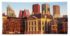 Beach Towel featuring the photograph Mauritshuis At Golden Hour - The Hague by Barry O Carroll