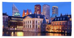 Beach Towel featuring the photograph Mauritshuis Museum At Blue Hour by Barry O Carroll