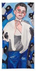Max Holding Snowflake Beach Sheet by Valerie Ornstein