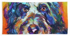 Beach Sheet featuring the painting Max, The Aussiedoodle by Robert Phelps