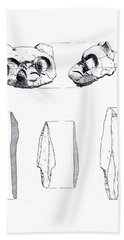 Maya Cat Head And Stone Tools Beach Towel