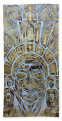 Beach Towel featuring the painting Mayan Warrior by J- J- Espinoza