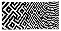 Maze Print Beach Sheet by Rebecca Harman