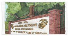 Beach Towel featuring the painting Mcas Beaufort Welcome by Betsy Hackett