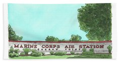 Beach Towel featuring the painting Mcas Cherry Point Welcome by Betsy Hackett