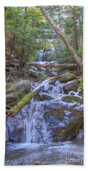 Beach Sheet featuring the digital art Mcconnells Mill Rock Falls Winter  by Randy Steele
