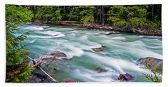 Beach Towel featuring the photograph Mcdonald Creek by Gary Lengyel