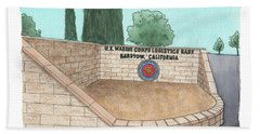 Beach Towel featuring the painting Mclb Barstow Welcome by Betsy Hackett