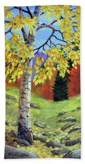 Meadow Birch In Autumn Beach Sheet