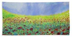 Meadow Of Poppies  Beach Towel