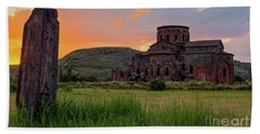Mediaval Talin's Cathedral At Sunset With Cross Stone In Front, Armenia Beach Towel