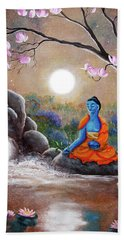 Medicine Buddha By A Waterfall Beach Towel