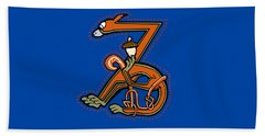Medieal Squirrel Letter Z Beach Towel by Donna Huntriss