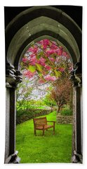 Beach Towel featuring the photograph Medieval Abbey In Irish Spring by James Truett
