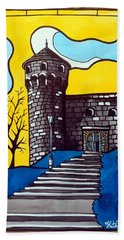 Beach Sheet featuring the painting Medieval Bastion -  Mace Tower Of Buda Castle Hungary By Dora Hathazi Mendes by Dora Hathazi Mendes