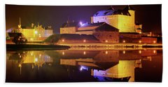 Medieval Castle By The Lake At Night Beach Towel