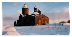 Medieval Saghmosavank Monastery Covered By Snow At Sunset, Armenia Beach Towel