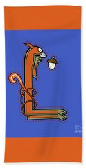 Medieval Squirrel Letter L Beach Towel
