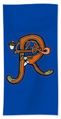 Medieval Squirrel Letter R Beach Towel