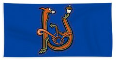 Medieval Squirrel Letter U Beach Towel by Donna Huntriss