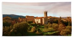 Beach Towel featuring the painting Medieval Tuscany by Rosario Piazza