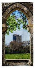 Beach Towel featuring the photograph Medieval Vista Of Dysert O'dea Castle by James Truett