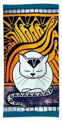 Beach Towel featuring the painting Meditation - Cat Art By Dora Hathazi Mendes by Dora Hathazi Mendes