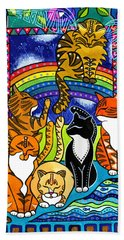 Meet Me At The Rainbow Bridge - Cat Painting Beach Sheet